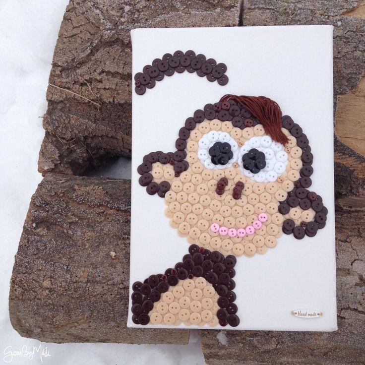 Gombíkový obraz - Opica Škorica