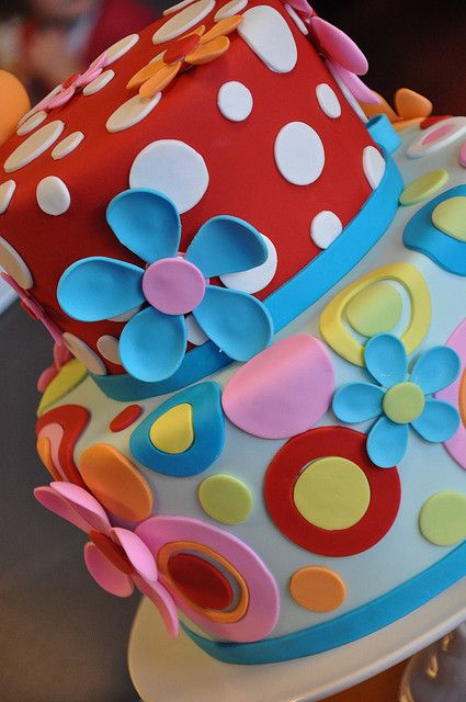 Colorful Flowers and Polka Dot Cake - I may make a red and white polka dot cake for myself :)