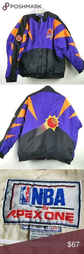 Vintage Phoenix Suns NBA Basketball Coat Old school Size Large Zip up jacket Puffer Good condition- some rips inside of arm #suns #vintage #vintagenba #vintagepuffer #basketball #phoenix #phoenixsuns Jackets & Coats