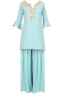 Frost Blue Floral Embroidered Short Kurta And Pants Set