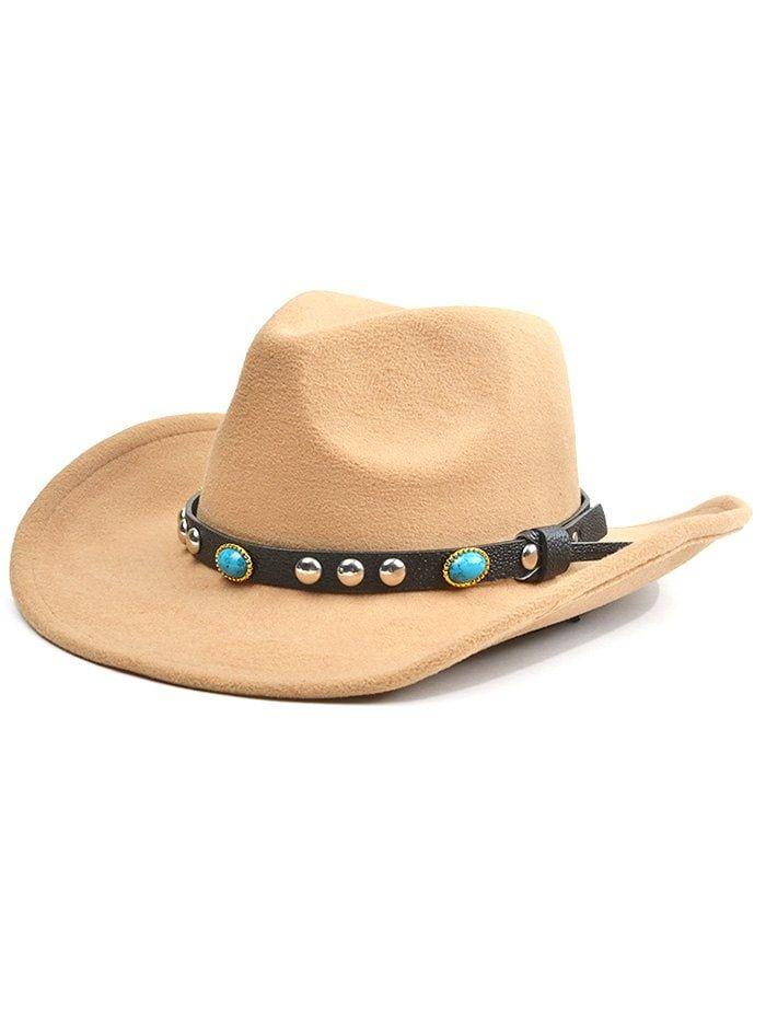fa1e3ff12ffa37 Western Style Faux Gem Rivet Belt Faux Suede Women's Cowboy Hat - LIGHT  KHAKI