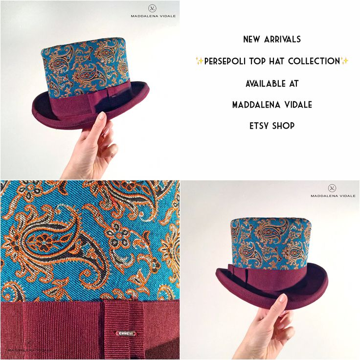 Persepoli (Burgundy version)   Choose your color at  Maddalena Vidale ETSY SHOP  #persepoli#maddalenavidale #tophat#cilindro#mvhatcollection #maddalenavidalecollection #mvcollection #emmevi #emmevicollection #mvbestseller #emmevibestseller #persiantextile #iran #cilindro#cappello #hat #madhatter #bergamohat#fashionluxury #gentlemanstyle #gentleman #giftideas #madeinitaly #fashiondesigner #bergamo #putitoveryourhead