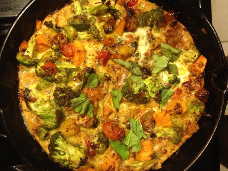 Chicken and Sweet Potato Frittata with Broccoli and Roasted Tomatoes