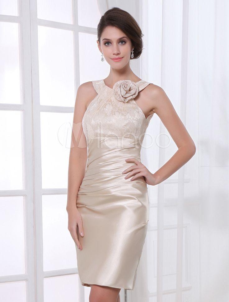 robe de cocktail fourreau en satin stretch champagne avec fleur milanoocom - Milanoo Robe De Soiree Pour Mariage