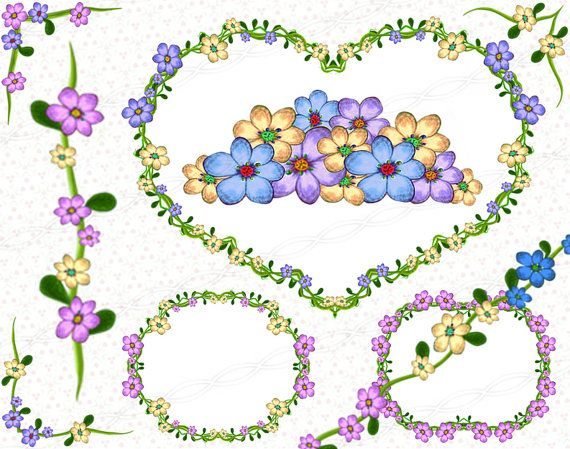 Floral digital ornaments and decorations - flourish swirls and floral doodle plants scrapbooking printable clipart frames - borders. https://www.etsy.com/listing/244857598/instant-download-png-flower-frame?ref=shop_home_active_20