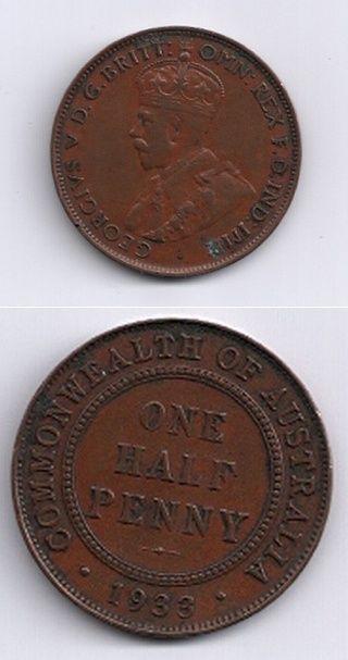 KGV 1933 Half Penny