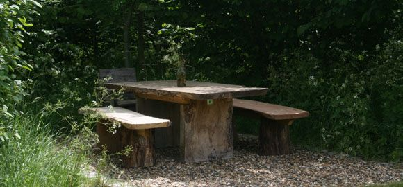 Glamping bench, Coppice Woodland, Guilden Gate