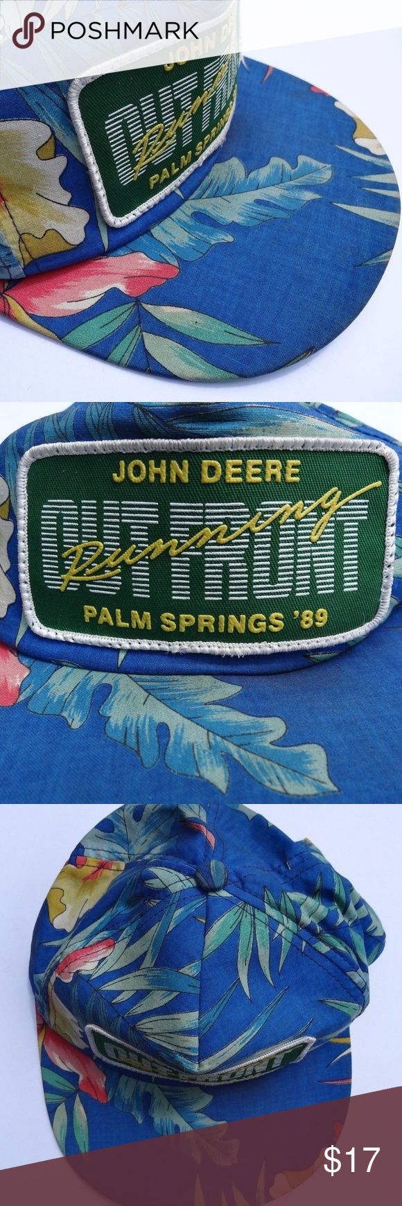 VINTAGE John Deere Baseball Hat Floral Retro Vintage, authentic John Deere tropical printed hat from a John Deere dealer meeting in Palm Springs in 1989. The plastic strap on the back is broken off. A bit dusty and worn, the plastic snapback band is completely broken off. John Deere Accessories Hats