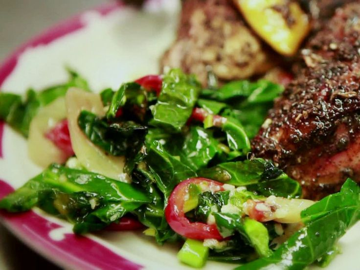 Sauteed Collard Greens with Garlic, Peppers and Onions recipe from Diners, Drive-Ins and Dives via Food Network