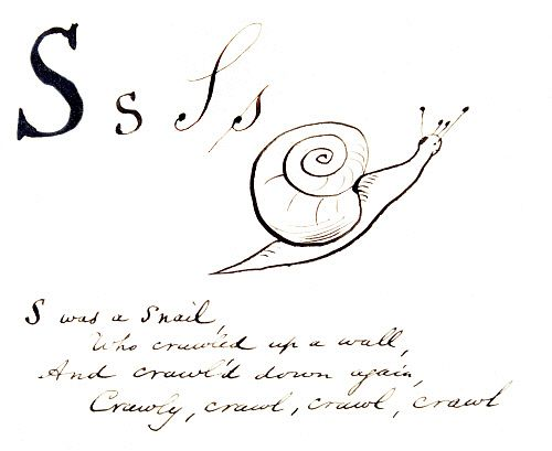 S was a Snail, who crawled up a wall..., by Edward Lear. England, 19th century