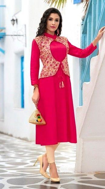 #pink  #printdesign #jacket #kurti | pink Kurtis | trends Kurtis | glace cotton with cambric kurti | party wear | pink kurti | pink   design jacket Kurtis |