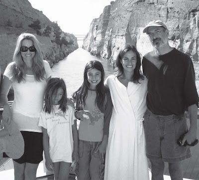 Steve Jobs with wife Laurene and children Eve, Erin and Lisa Brennan-Jobs at the Corinth Canal in Greece, 2006