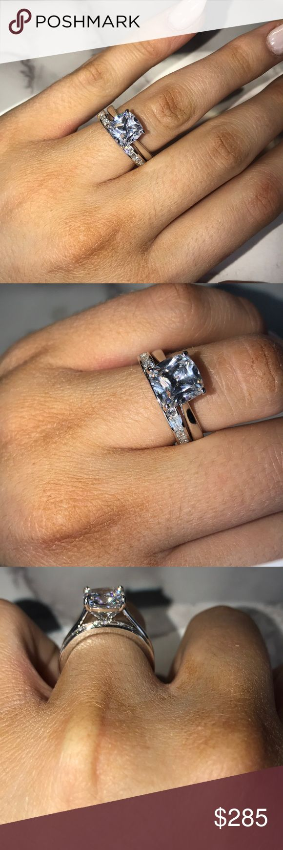 Cushion cut platinum plated wedding set Simulated diamond cushion cut 3 carat center stone weight. Platinum plated over sterling silver! Size 6.75. Band is alternating rounds and baguettes! Beautiful for a travel wedding set or just for fun! Jewelry Rings