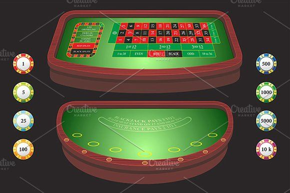 Roulette table blackjack Graphics Casino table with chips and cards by volyk