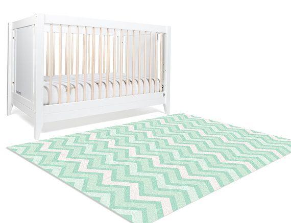 Mint Chevron Nursery  Nursery Decor  Nursery Floor Rug  by NotARug