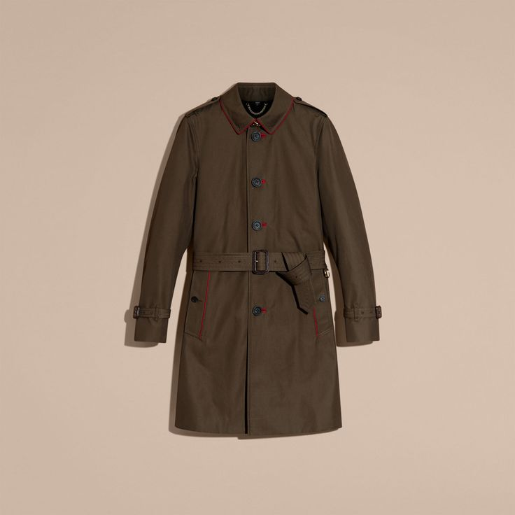 Military Detail Cotton Trench Coat   Burberry