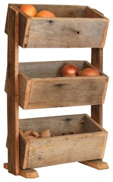 """Potato/Veggie Bin - Onion Bin - Kitchen Organization - rustic - Food Storage Containers - Grindstone Design Specifications Sold By Grindstone Design  Width 18.5""""  Depth 11""""  Height 32.5""""  Shipping Weight 480 oz.  Materials Barn Wood  Designer Brooke Hamilton  Category Food Storage Containers  Style Rustic"""