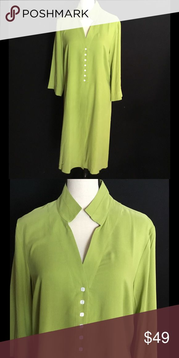 Asian Inspired a Silk Duster or Tunic Asian Inspired 100% Silk Duster or Tunic. Wear Over Slacks or Leggings. Color: Lime Sherbet. Size: M/L. Never Worn! Spiegel Tops Tunics