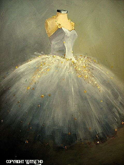 'LA DANSE DE LA LUNE' (The Dance of the Moon), vintage ballet Tutu painting original ooak canvas still life fashion vintage ballerina art FREE usa shipping. By WitsEnd, via Etsy.