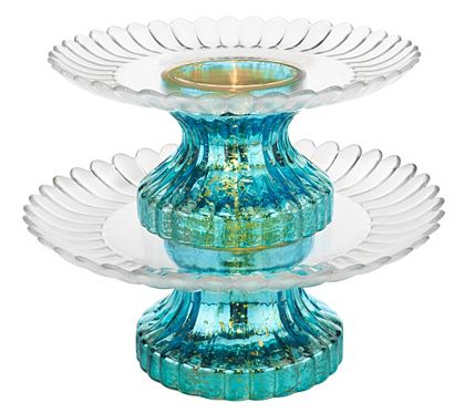 Entertaining just got a touch more elegant with this two-tier serving platter. The mercury glass bases light up, adding a surprising element to your table, while the glass plates have a lovely fluted edge. For added versatility, the pieces may be used separately. From the Valerie Parr Hill Collection. QVC.com