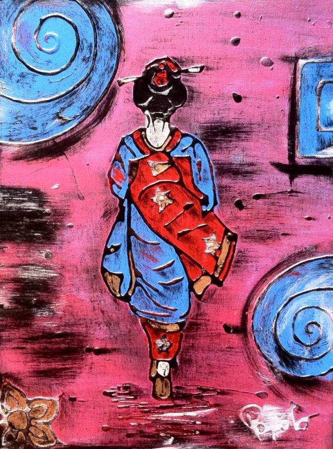 LA GEISHA NEL VENTO - 30x40 cm. Acrilc on canvas - 2015 - #GEISHA