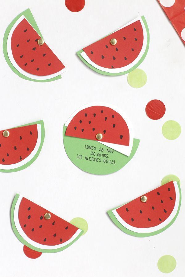 Invitación cumpleaños de sandía DIY  DIY Watermelon Invitation