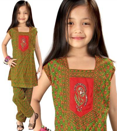 Rajasthani Kids Apparel  Bagru Sanganeri Salwar Suit  Offer Price Rs.588/-
