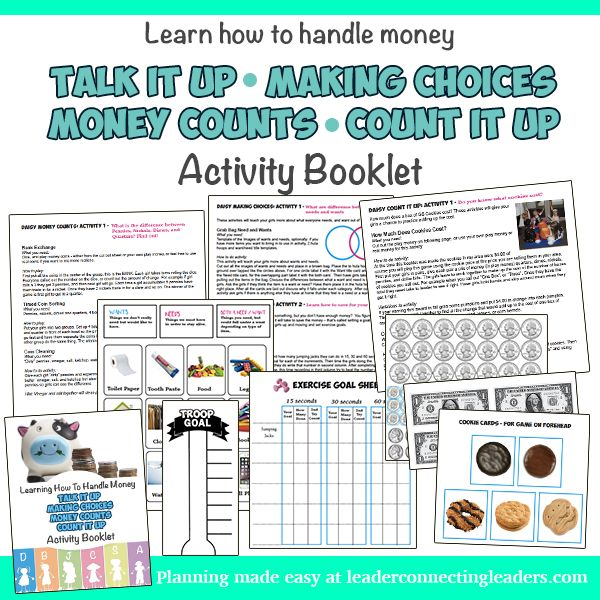 This activity booklet was designed to fulfill the requirements for the Daisy Talk it Up, Making Choices, Money Counts, and Count It Up Leaves.  Talk It Up Leaf After selling the cookies you have to decide how to use the money earned. The girls will learn more about ways to spend money to help others, and inspire customers to do the same.  #GirlScouts #daisyleaves #daisygirlscout