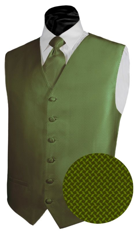 Tuxedo Vest OLIVE GREEN GEO Vest and NECKTIE Poly Satin. I would probably have an orange tie instead of the green.
