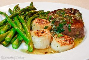 Scampi-Style Steak & Scallops with Roasted Asparagus | Savoring Today LLC