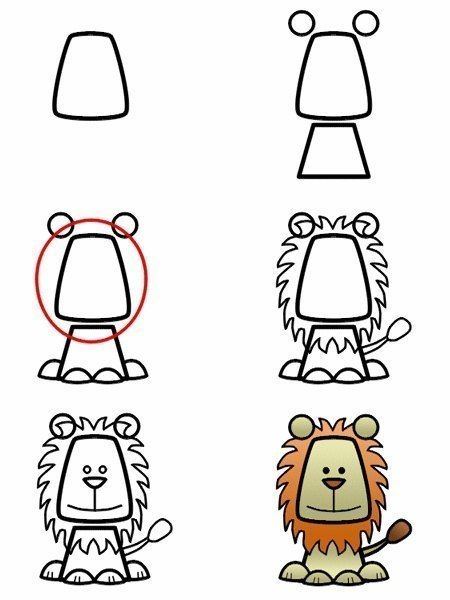 Рисуем зверей по шагам - 6 шаблонов для первых занятий рисованием 5