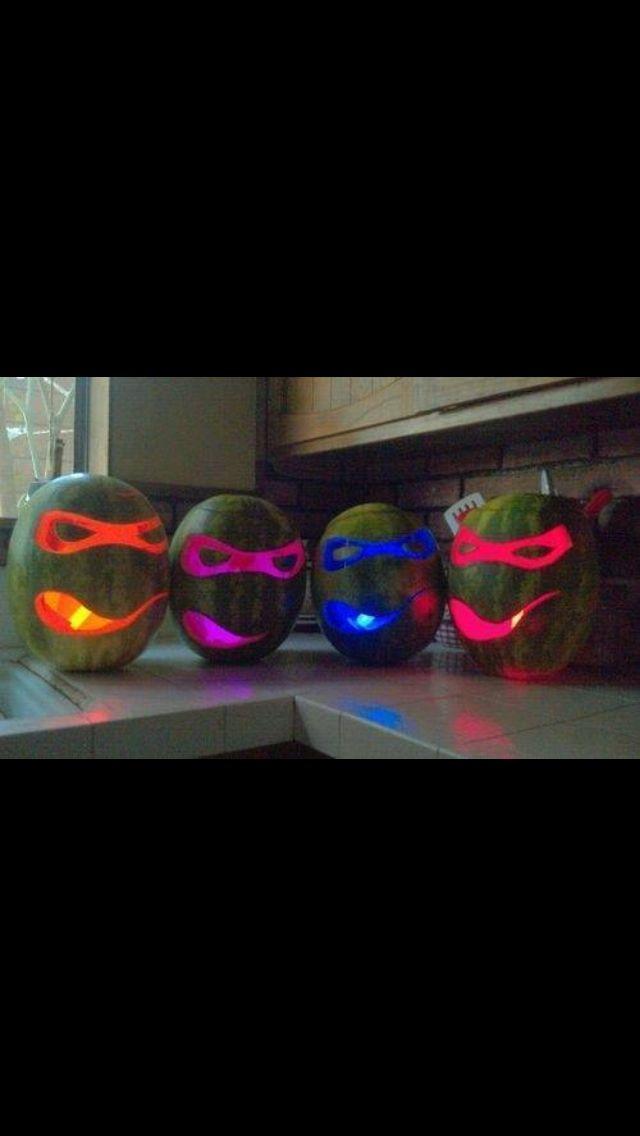 Ninja turtle Halloween decorations! Watermelon and glow sticks!
