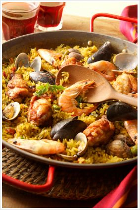 Spain's most famous dish, Paella is a concoction of rice, vegetables, beans, seafood and spices such as saffron.