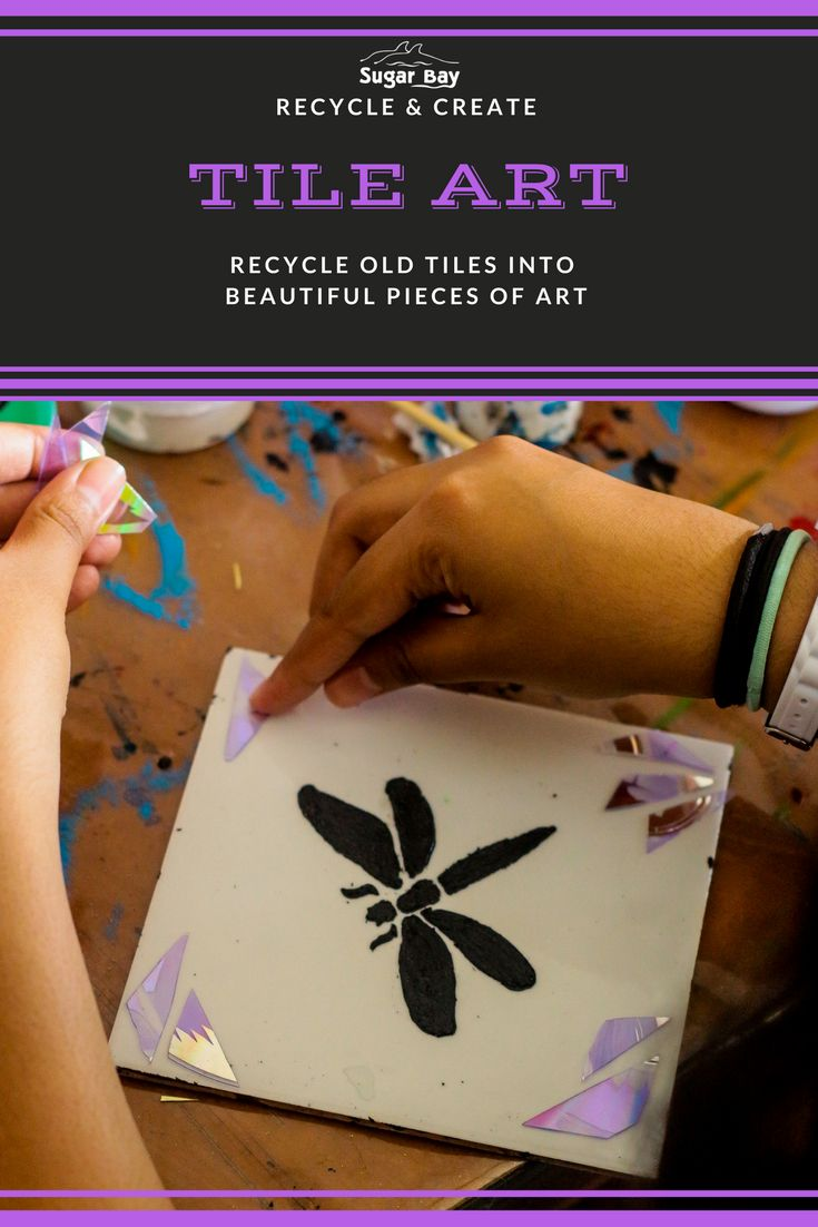 Recycle old tiles and turn them into a work of art.   To create this design, you will need:  - A stencil (of any pretty shape) - A white tile (any size) - Black Paint - Paint Brush - Broken Pieces of an Old CD-Rom - Art Glue  Method:  1. Place your stencil in the centre of the tile and use your black paint and paint brush to print the image onto the tile.   2. Leave to dry for 10 minutes.  3. Decorate the edges of your tile with broken pieces of a CD-Rom and stick on using Craft Glue.