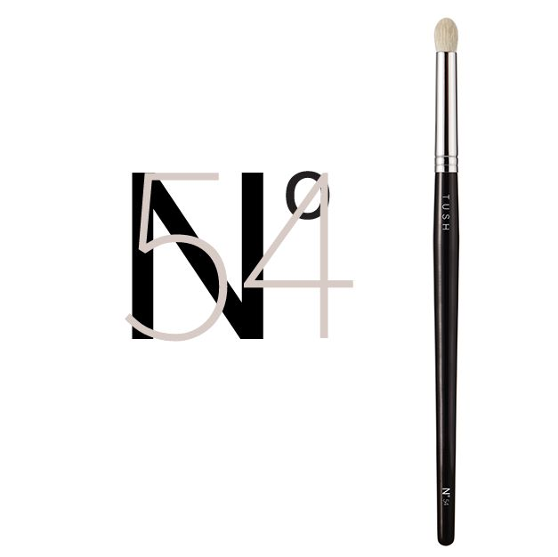 Nr 54 Extra Large Eye Crease Brush. A deluxe eye crease brush made from soft natural hair. This dome shaped brush picks up a lot of eye colour and sweeps it onto the eyelid to create bold definition. It's oversized design was created with effortless contouring in mind. Available at www.tushbrushes.com