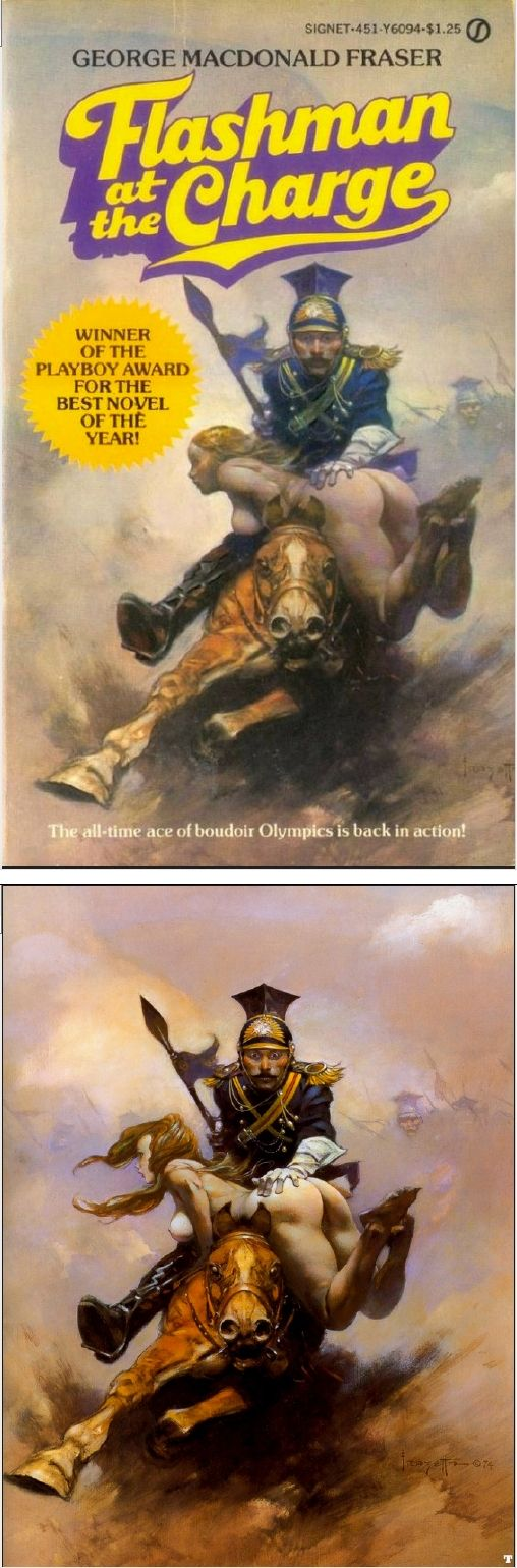 """(FRANK FRAZETTA cover) """"Flashman at the Charge"""" by George Macdonald Fraser - 1986 Signet Books - cover by raggedclaws.com"""