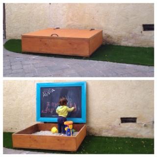 Sandbox with chalkboard lid