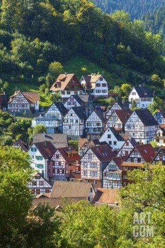 Traditional Half Timbered Buildings in Schiltach's Picturesque Medieval Altstad…