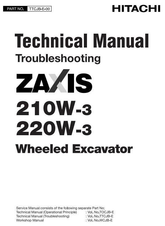 Original Illustrated Factory Workshop Service Manual for Hitachi Hydraulic Excavator Type ZX210, ZX220.Original factory manuals for Hitachi Excavator Mashines, contains high quality images, circuit diagrams and instructions to help you to operate and repair your truck. All Manuals Printable and con