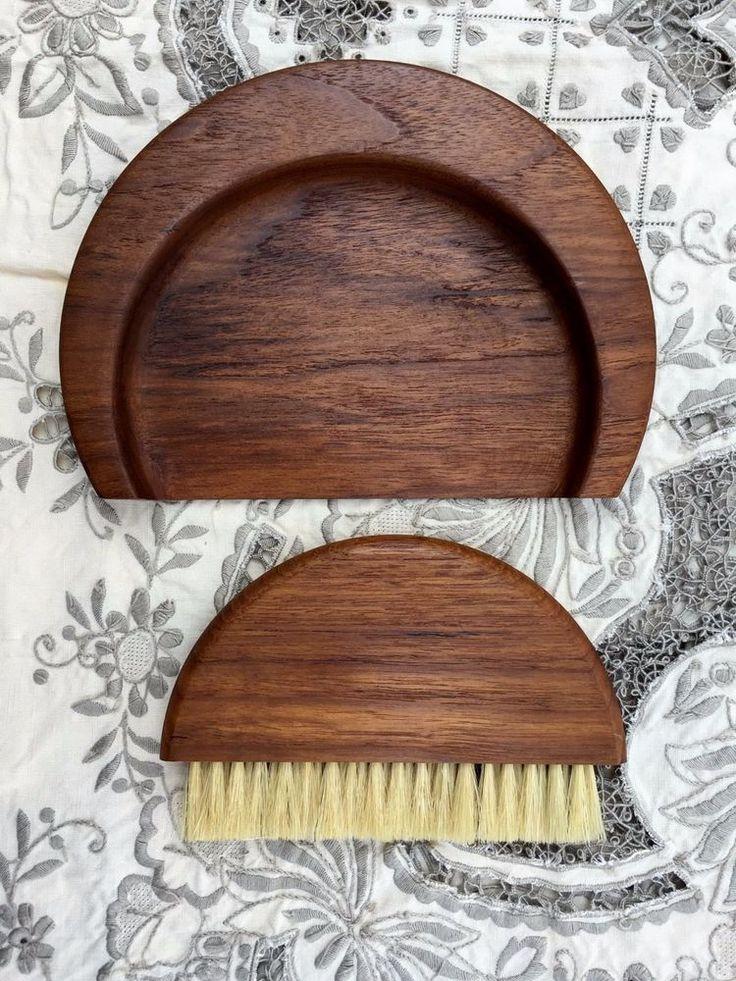 Vintage 1950s KAY BOJESEN Danish Modern Teak Crumb Tray Horsehair Brush Denmark #KayBojesen