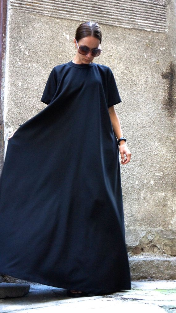 XXL,XXXL Maxi Dress / Black Kaftan / Extravagant Long Dress / Party Dress / Daywear Dress by AAKASHA A03137