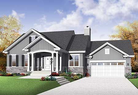 Plan 21977dr budget bungalow exterior colors house for Open concept bungalow house plans canada
