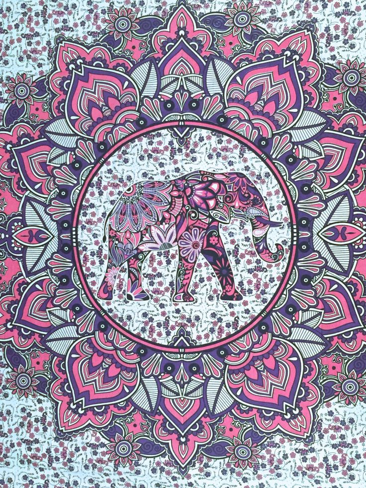 Queen Mandala Elephant Tapestry Hippie Bohemian Throw Handmade Beach Blanket Dorm Decor Wall Hanging Bright Colors Pink Purple QMN493 by Handkrafters on Etsy