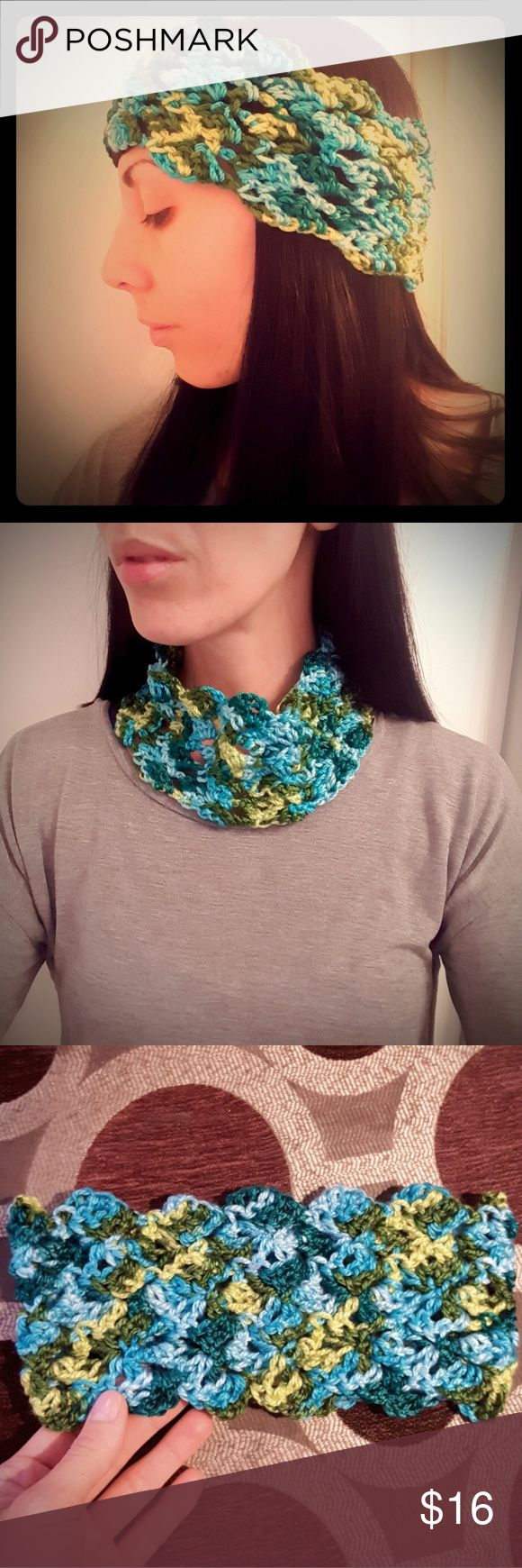 Chic Crochet Warm Winter Ear Muff Or Cowl Scarf This ear muff slash cowl scarf is an original design and is made of super soft cotton and acrylic yarn. No wool, non-itchy. Colors vary from turquoise to green. Open v-sitch weave makes this piece versatile and comfy! Give the gift of handmade this year! Measures 4 inches wide and stretchy approx 22 to 24 inches around. Can be worn with your hair up in a bun or ponytail at the same time keep those ears warm. Also wear around neck for a no fuss…