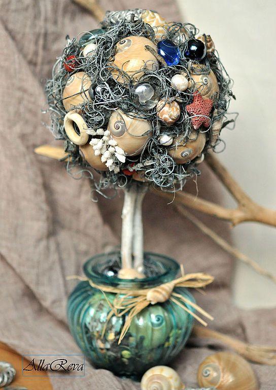 """Топиарий """"Пахнет морем..."""" - голубой,топиарий,Дерево счастья,подарок,украшение интерьера"""