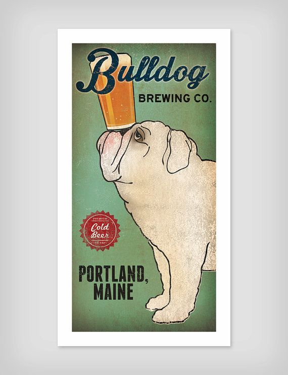 BULLDOG Custom Bulldog Brewing Company graphic art illustration GICLEE PRINT 8x16 inches Signed on Etsy, $39.00