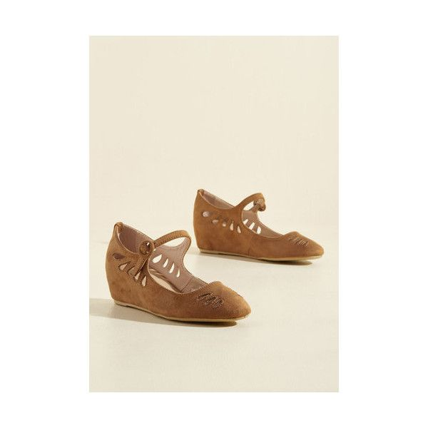 A Leap of Their Own Wedge ($40) ❤ liked on Polyvore featuring shoes, heels, mary jane heel, tan, tan wedge shoes, strappy shoes, mary jane wedge shoes, retro shoes and t-strap mary janes