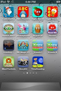 reading apps for the ipad    http://www.lovetwoteach.com/2011/02/ipods-in-classroom_761.html