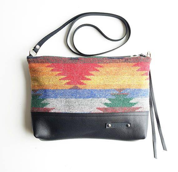 Navajo design Woven Wool Cross Body bag // boho bag // wool