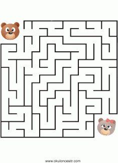 Labirent Bulmaca Çalışma Sayfası, Easy medium hard maze puzzle worksheets preschooler and kindergarten